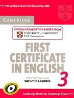 Cambridge First Certificate in English for updated exam 3: Учебник